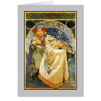Art nouveauAlfons Mucha Princess Hyacint Hälsningskort