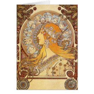 Art nouveauAlphonse Mucha Zodiac noterar kortet OBS Kort