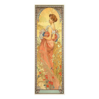 Art nouveaubokmärke set av smala visitkort
