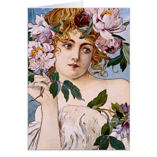 Art nouveaudam med blommor hälsningskort