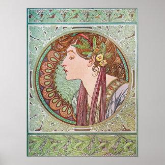 Art nouveaudam med lagrarlöv poster