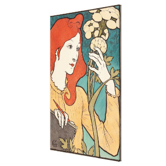 Art nouveaudamen blommar blom- kvinnavintage canvastryck