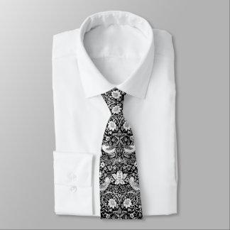 Art nouveaufågel & blommaTapestry, svart & vit Slips