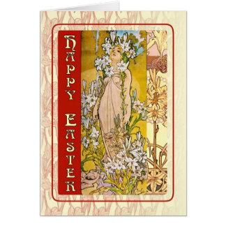 Art nouveauglad påsk hälsningskort