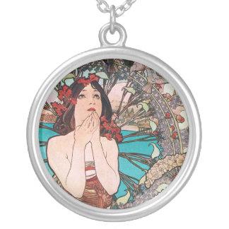 Art nouveaugudinna silverpläterat halsband