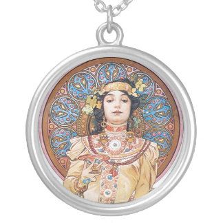 Art nouveaugudinnakonst silverpläterat halsband