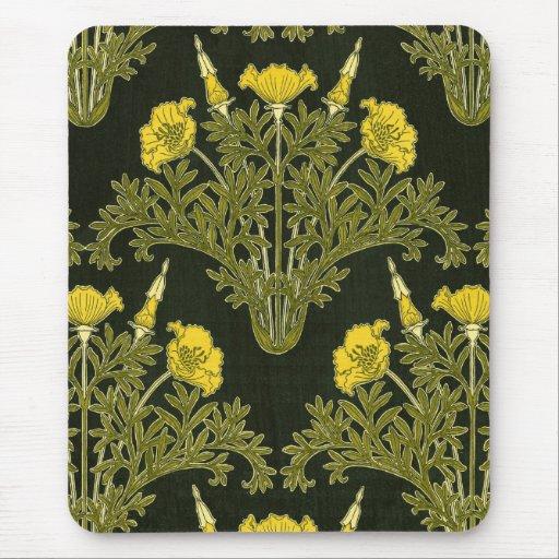 Art nouveaugula blommor - Mousepad Musmattor