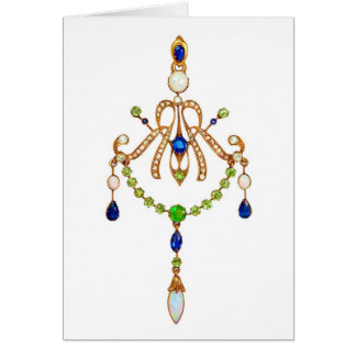 Art nouveauhängesmycken hälsningskort