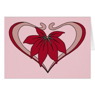 Art nouveauhjärta och röd blommakärlekamaranth hälsningskort