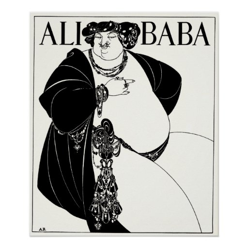 Art nouveauillustration: Beardsley - Ali Baba Print