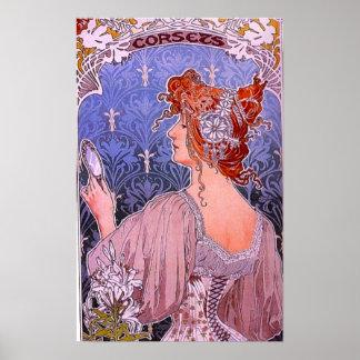 Art nouveaukorsettannonsering poster