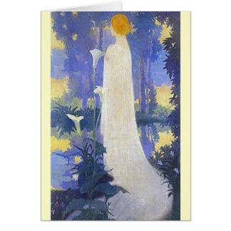 Art nouveaukvinna med Callaliljar Hälsningskort