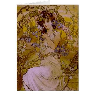 Art nouveaukvinna med clematisen hälsningskort
