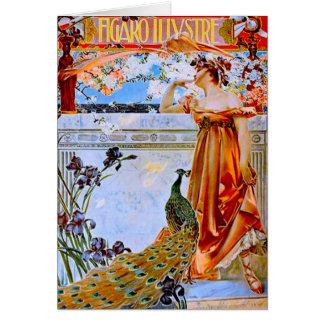 Art nouveaukvinna och påfågel hälsningskort