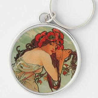 Art nouveaunyckelring rund silverfärgad nyckelring