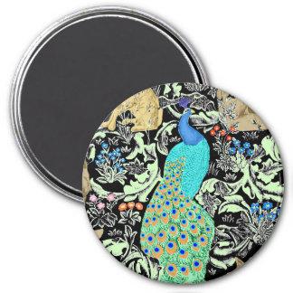 Art nouveaupåfågeltryck, turkos & neutralter magnet rund 7.6 cm