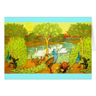 Art nouveaupåfåglar och svanar hälsningskort