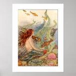 Art nouveausjöjungfruaffisch/tryck 18x24