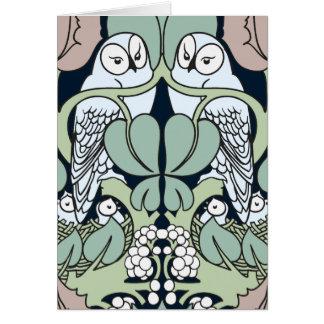 Art nouveauugglan bygga bo lyckliga årsdagkort hälsningskort