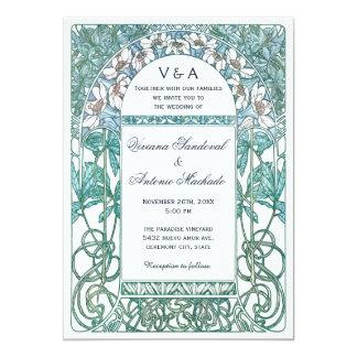 Art nouveauvintage bröllopinbjudningar VI 12,7 X 17,8 Cm Inbjudningskort