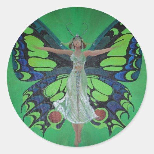 Art nouveauvintageklaff med fjärilsvingar runt klistermärke