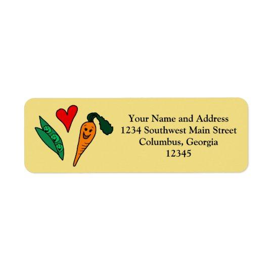 Ärtakärlekmorötter, gullig grönt och orange design returadress etikett