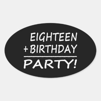 Artonde födelsedagar: En arton + Födelsedag = Ovalt Klistermärke