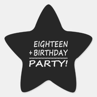 Artonde födelsedagar: En arton + Födelsedag = Stjärnformat Klistermärke