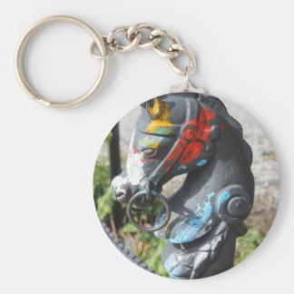 Artsy färgrik Hitching för häst postar, New Rund Nyckelring