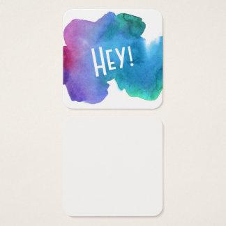 """Artsy mångfärgad vattenfärg med """"Hey!"""", Noterar Fyrkantigt Visitkort"""