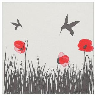Artsy röda vallmor och Hummingbirds Tyg