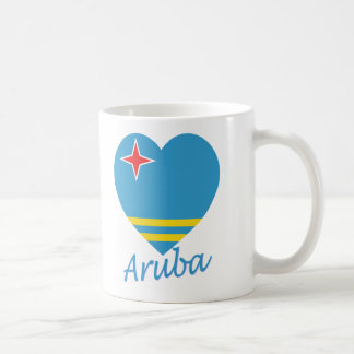 Aruba flaggahjärta kaffemugg