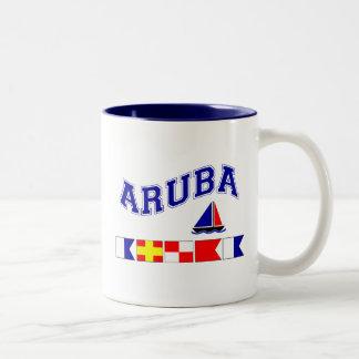 Aruba (maritimt stava för flagga) Två-Tonad mugg