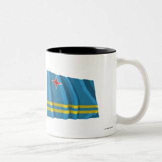 Aruba som vinkar flagga Två-Tonad mugg