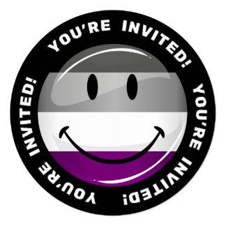 Asexual flagga för lycklig runda fyrkantigt 13,3 cm inbjudningskort