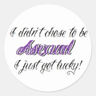 """Asexual pride, """"som jag fick precis lycklig!"""", runt klistermärke"""