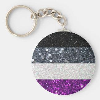 Asexual prideglitterkeychain rund nyckelring