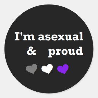 Asexual & stolt asexual prideklistermärke runt klistermärke