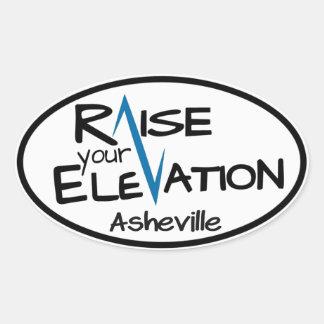 Asheville blåttlönelyft din höjdOvalklistermärke Ovalt Klistermärke