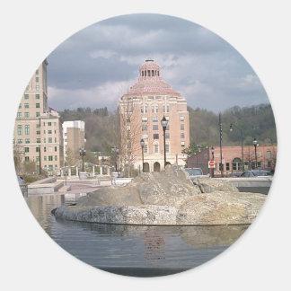 Asheville nc fontän runt klistermärke