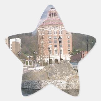 Asheville nc fontän stjärnformat klistermärke