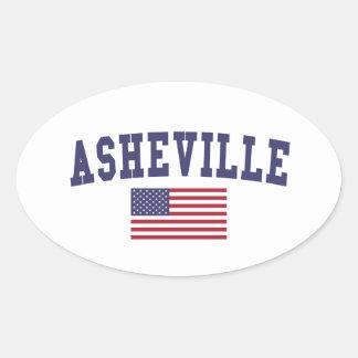 Asheville US flagga Ovalt Klistermärke