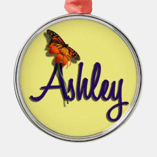 Ashley med fjärilen rund silverfärgad julgransprydnad