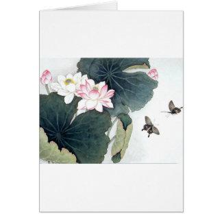 Asiatisk coola för konst för fjäril för blomma för hälsningskort
