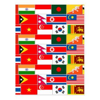 Asiatisk flaggor vykort