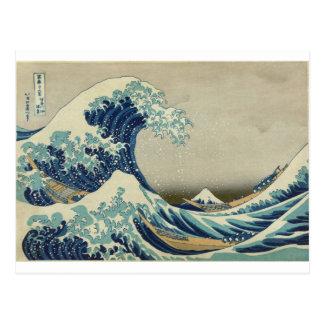 Asiatisk konst - underbaren vinkar av Kanagawa Vykort