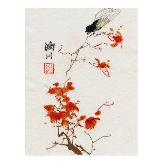 Asiatisk vykort för blommablommarvintage