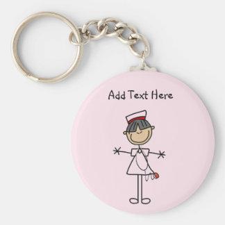 Asiatiska kvinnliga stick figursjuksköterskaT-tröj Rund Nyckelring