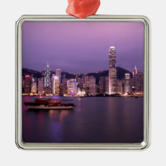 Asien china, Hong Kong, stadshorisont och Julgransprydnad Metall