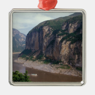 Asien china, Yangtze River, Three Gorges. Julgransprydnad Metall